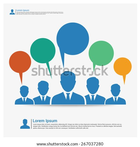Icons of people with speech bubbles.  online people in social network & media - vector graphic. social media communication, internet or web chat, social networking & interaction, online community