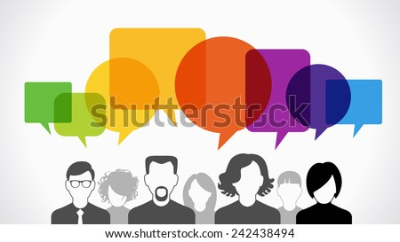 Icons of people with speech bubbles.  Vector illustration of a communication concept, The file is saved in the version AI10 EPS. - stock vector