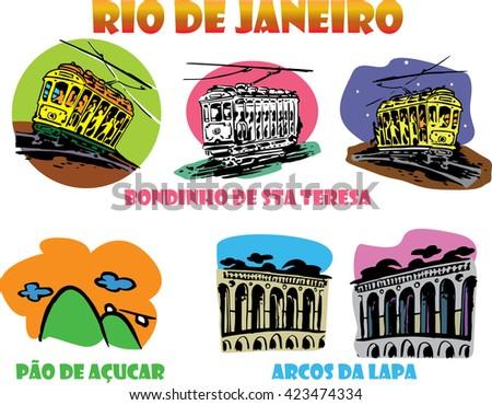 Icons of Rio de Janeiro vector . Famous trolley crossing to Sugar Loaf Mountain. Little Tram. Arcs of Sta Teresa Lapa.  - stock vector