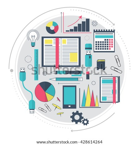 Icons of search engine optimization service, SEO data analytics and keyword process. Modern concept for website or infographics. The working process. Modern technologies. Line art. Vector illustration - stock vector