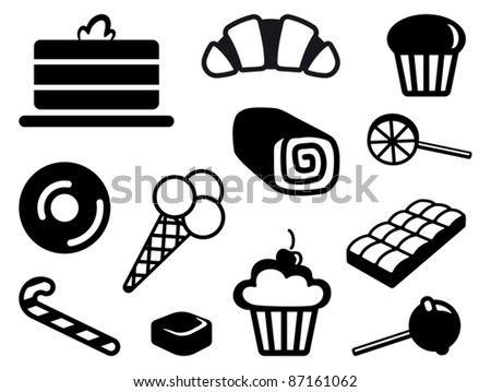 Icons of sweets - stock vector