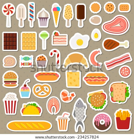 Icons of sweets, fast food, meat and fish on dark background - stock vector