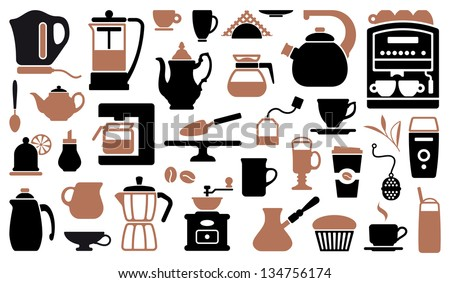 Icons of tea and coffee - stock vector