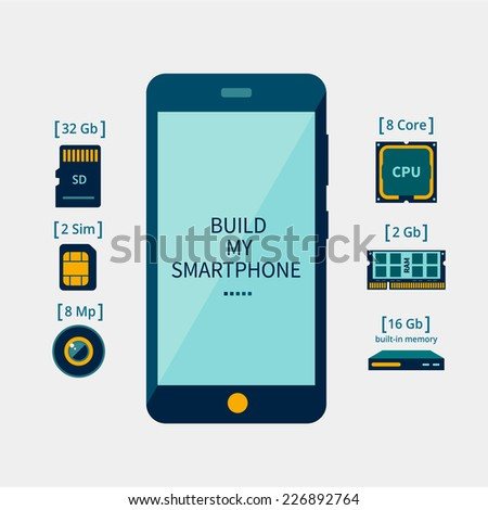 Icons of the smartphone and its component parts - stock vector