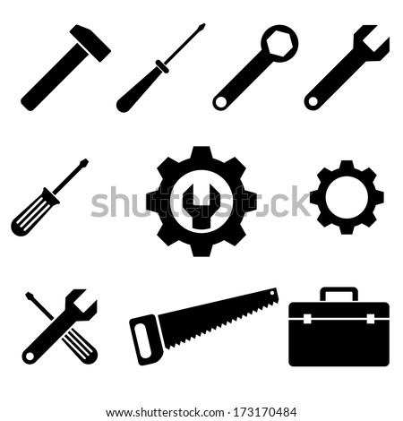 icons of tools. vector set. eps8 - stock vector