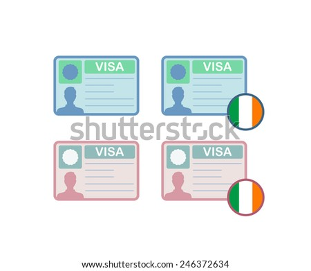 Icons of Visa to Ireland, Vector Illustrations for Website - stock vector