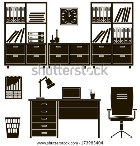 icons office furniture 2 - stock vector
