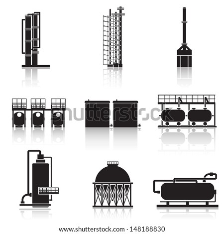 Icons oil refinery, pipelines, tanks, petrol, gas.  - stock vector