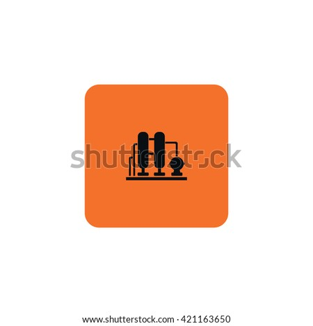 Icons Oil refining factory. - stock vector