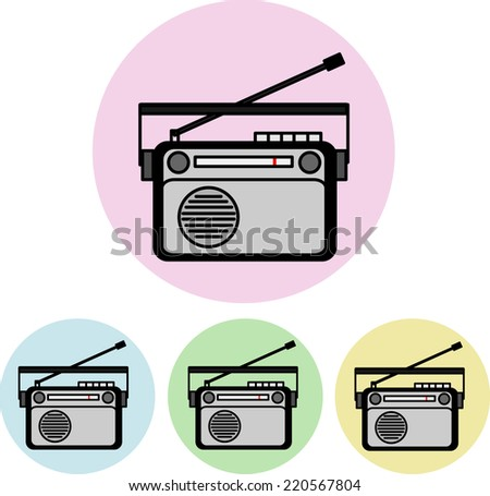 Icons - Old Radio - stock vector