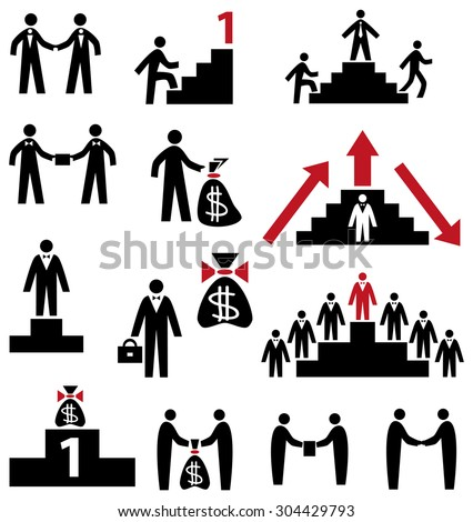 Icons on a white background on the topic of business people, career, money, contract