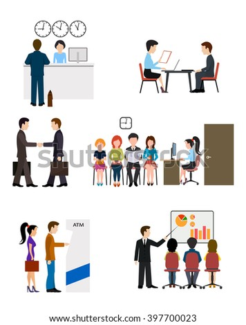Icons on business banking system flat style