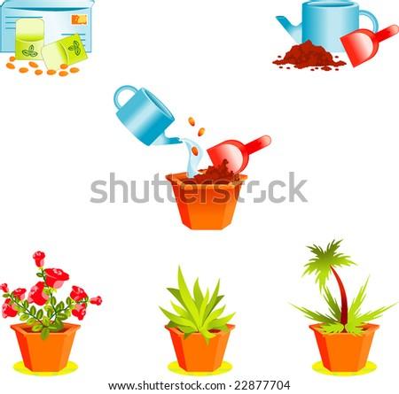 Icons on growing window plants - stock vector