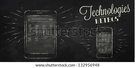 Icons on modern technology mobile tablet device in vintage style stylized under the chalk drawings - stock vector