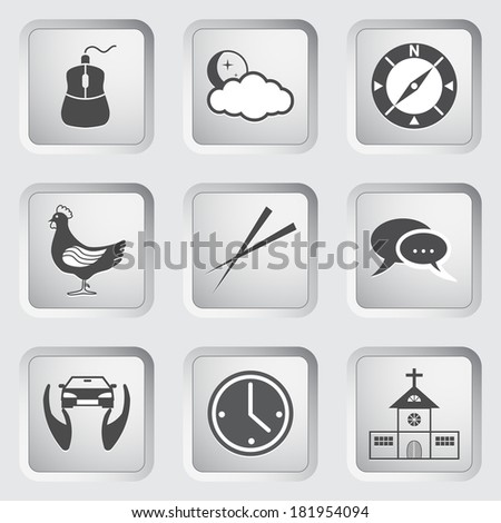 Icons on the buttons for Web Design and Mobile Applications Set 4. Vector illustration. - stock vector