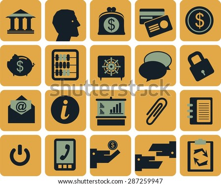 Icons on the theme of the bank and banking arranged in a square with rounded corners into a flat style