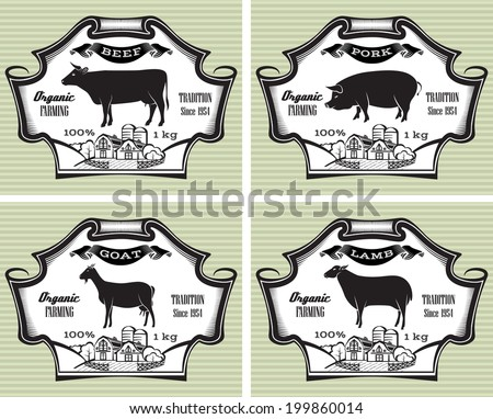 icons on vintage background pig, cow, sheep, goat - stock vector