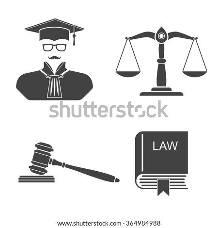 Icons on white background scales, balance,  gavel, book laws,  judge. Set icons law and justice. Vector illustration.  Silhouette judge, scales, balance,  gavel, book laws. Icon judge. - stock vector