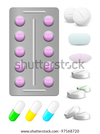 icons pack pills and tablets of different sizes - stock vector