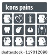 Icons pains. Illustration set of icons of human pain for visual clarity. - stock