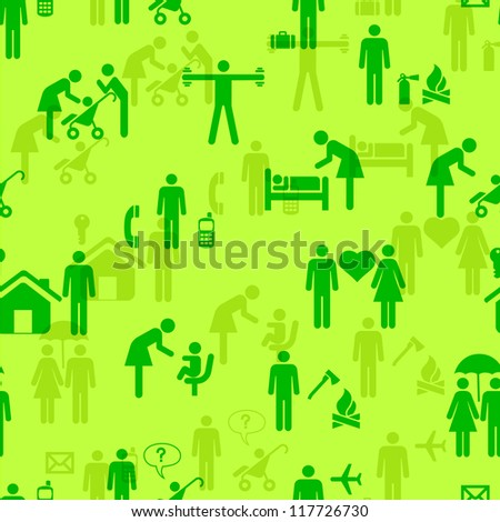 Icons - People, seamless wallpaper, vector illustration