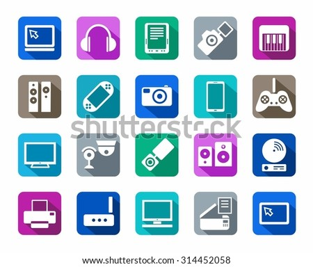 Icons, photo & video equipment, audio equipment, a colored background. White icons, photo, video and audio equipment on a colored background with a shadow. For websites, print and infographics.