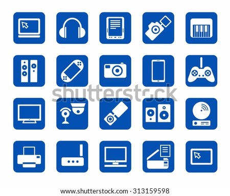 Icons, photo & video equipment, audio equipment, blue background. The icons with images photo and video equipment, audio equipment and computers. White color on a blue background.
