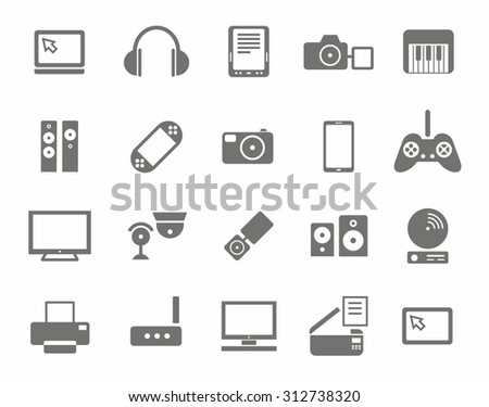 Icons, photo & video equipment, audio equipment, monochrome, white background. Icons photo and video equipment, computers, and home entertainment electronics. Gray icons set on white background.
