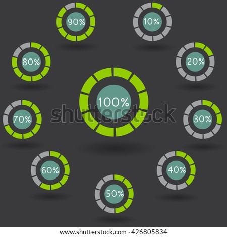 icons pie graph circle percentage green chart 10 20 30 40 50 60 70 80 90 100 % set illustration round vector - stock vector