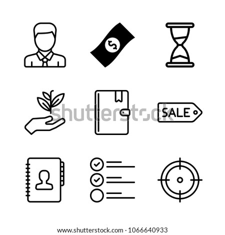 icons productivity money address book sale stock vector 1066640933