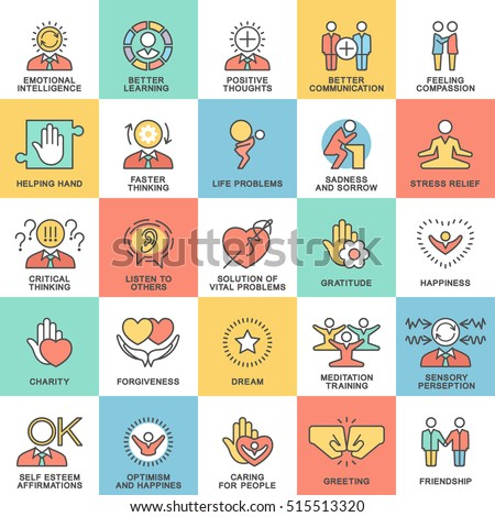 Icons psychological features of human personality. Thoughts, emotions, empathy, assistance and relationships. The thin contour lines with color fills.