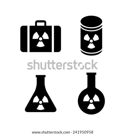 Icons: radioactive items.Radioactivity concept. - stock vector