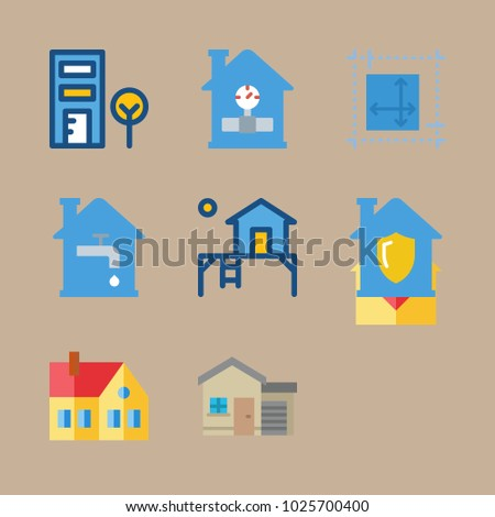 Icons real estate blueprint design terrace stock vector 1025700400 icons real estate with blueprint design terrace home and telephone cab malvernweather Images