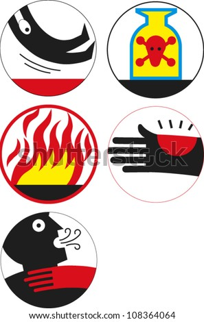 Icons related to accidents/safety - stock vector