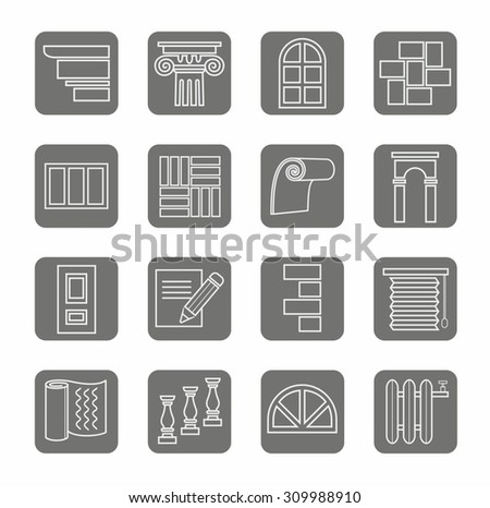 Icons, repair, construction, building, gray, contour, grey background.  Signs with images of construction materials for repair and construction works. Light grey outline on a dark gray background.  - stock vector