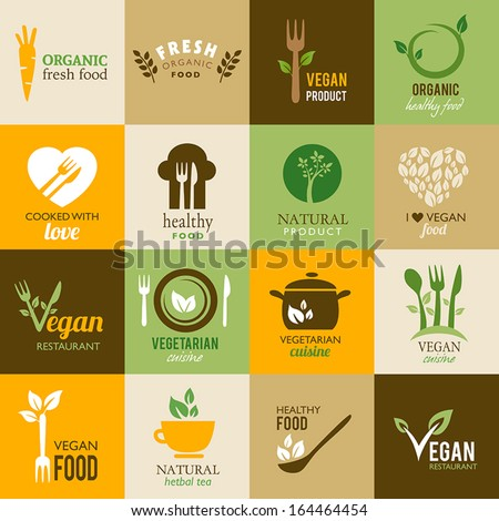 Icons representing healthy, organic and vegetarian food - stock vector