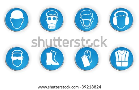 Icons representing 8 important safety instructions. - stock vector