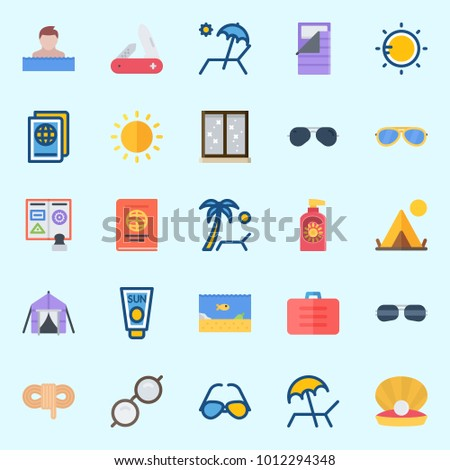 Icons set about Beach And Camping with tent, sun, rope, passport, swimmer and sleeping bag