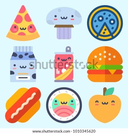 Icons set about Food with hot dog, sushi, milk, hamburger, soda and pizza