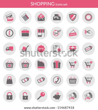 Icons set about shopping. Flat icons inside circles. - stock vector