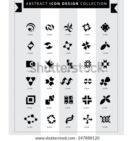 Icons set, abstract elements for logo design vector - stock vector
