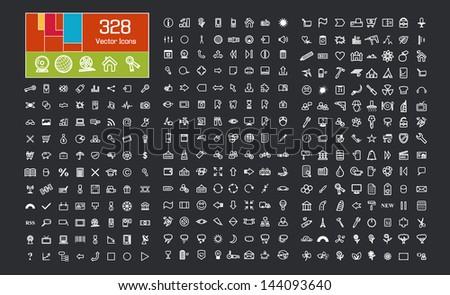 Icons Set. Business symbols, Eco symbols, Flower symbols, Office symbols, Medical symbols and others. - stock vector