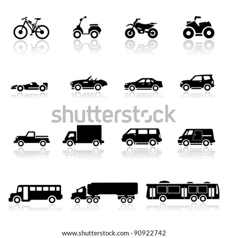 Icons set cars - stock vector