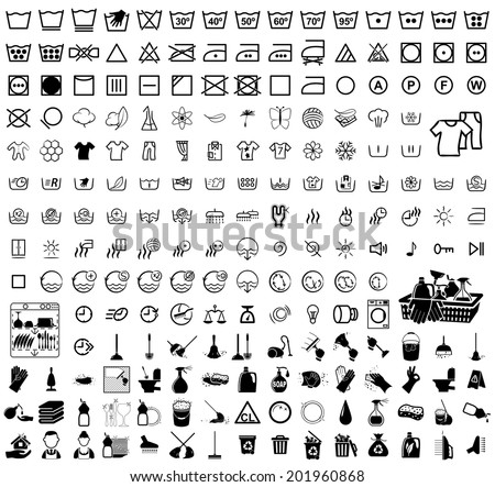 Icons set Cleaning. Vector illustration on white background - stock vector