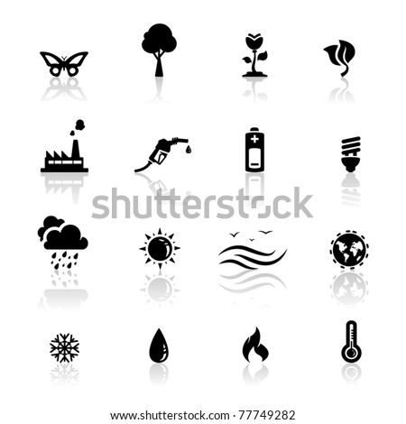 Icons set environment and global warming - stock vector