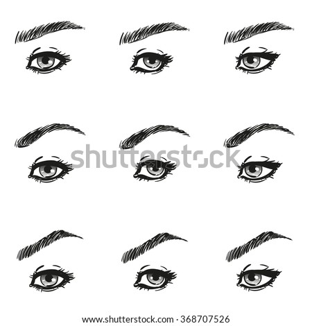 Icons set female eye long eyelashes stock vector royalty free icons set female eye with long eyelashes and eyebrows different shapes look just to the left ccuart Choice Image