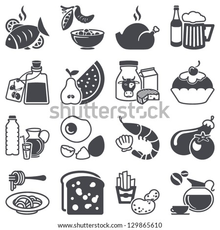 Icons set: Food and Drink - stock vector