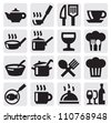 Icons set for restaurant, cafe and bar on gray - stock vector
