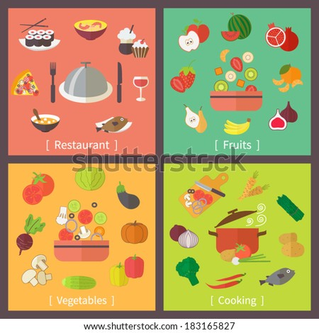 Icons set for restaurant, menu, cooking, fruit and vegetables. Flat design vector.
