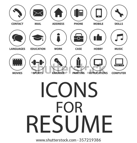 Icons Set Your Resume CV Job Stock Vector 357219386   Shutterstock